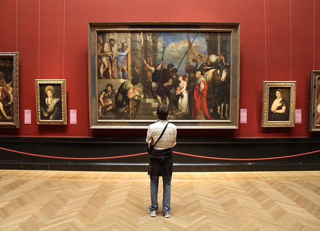 Man at art museum