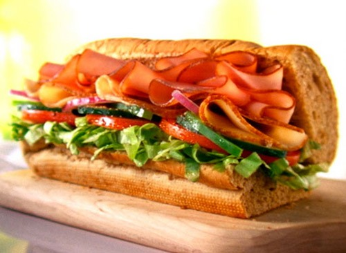 subway turkey and ham sub sandwich