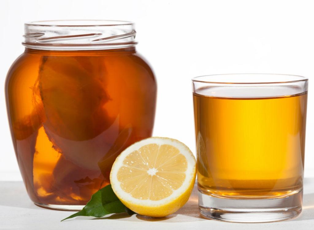 Kombucha in jar and glass