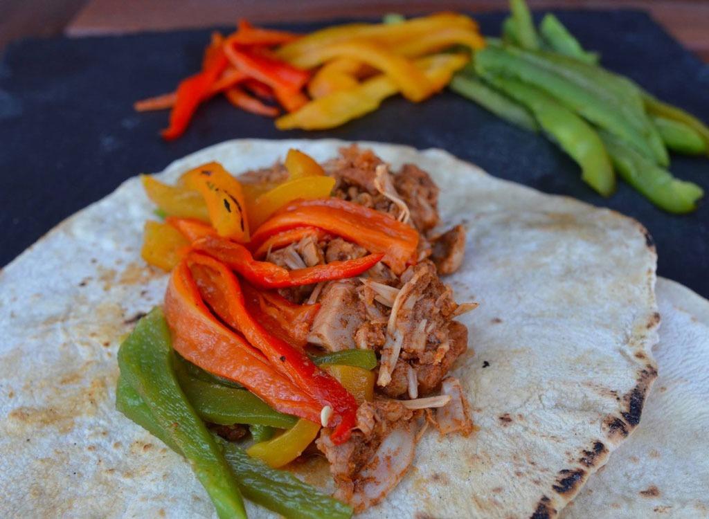 veggies and meat on Arabbic bread