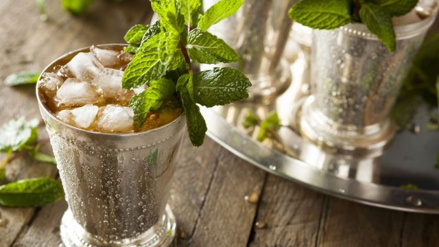 mint julep cocktail in cup