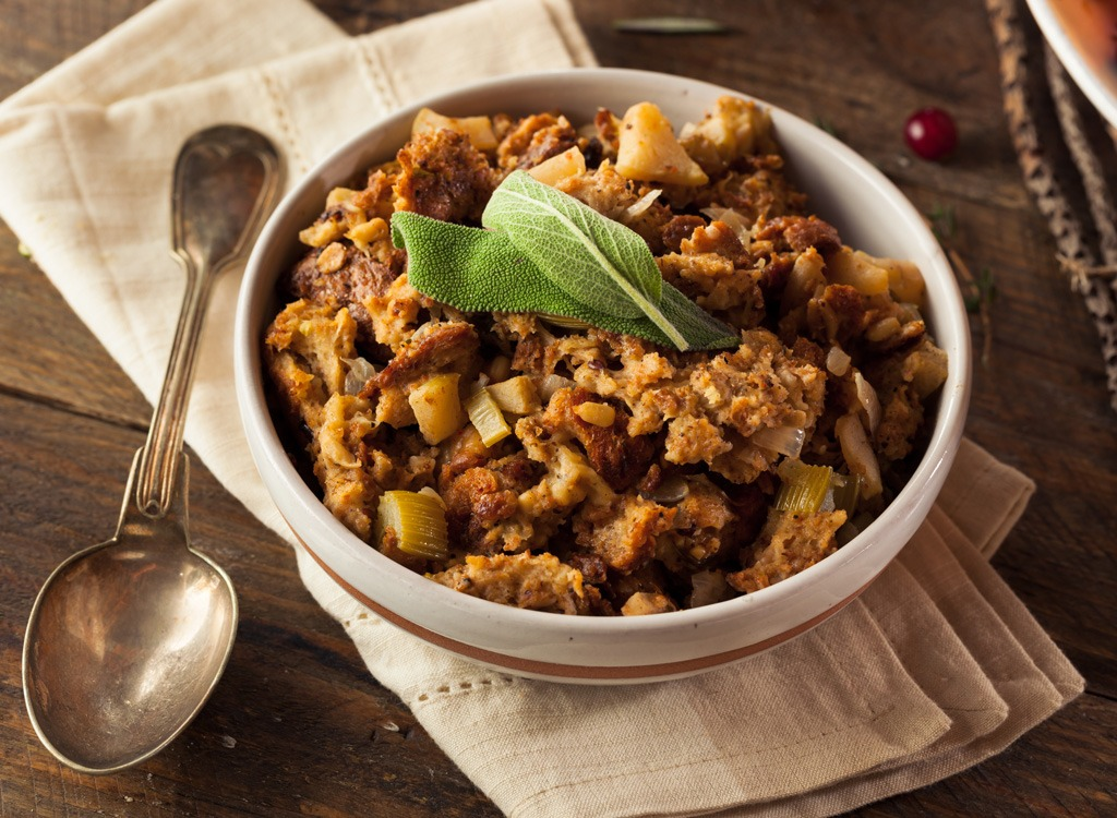 Holiday food bread stuffing