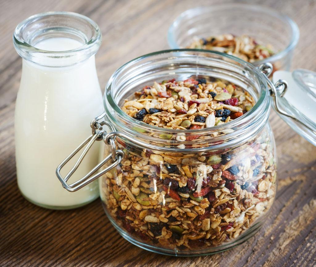 Granola jar milk