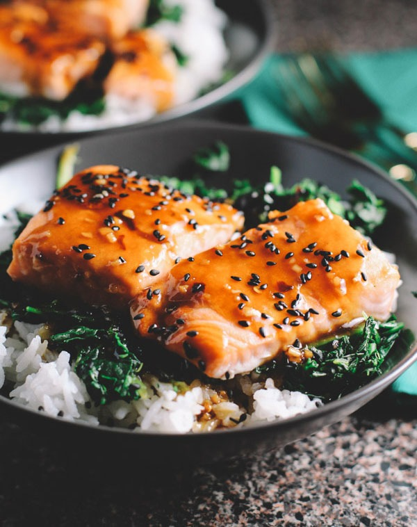 Bowl roundup Asian Salmon and Spinach Rice Bowls