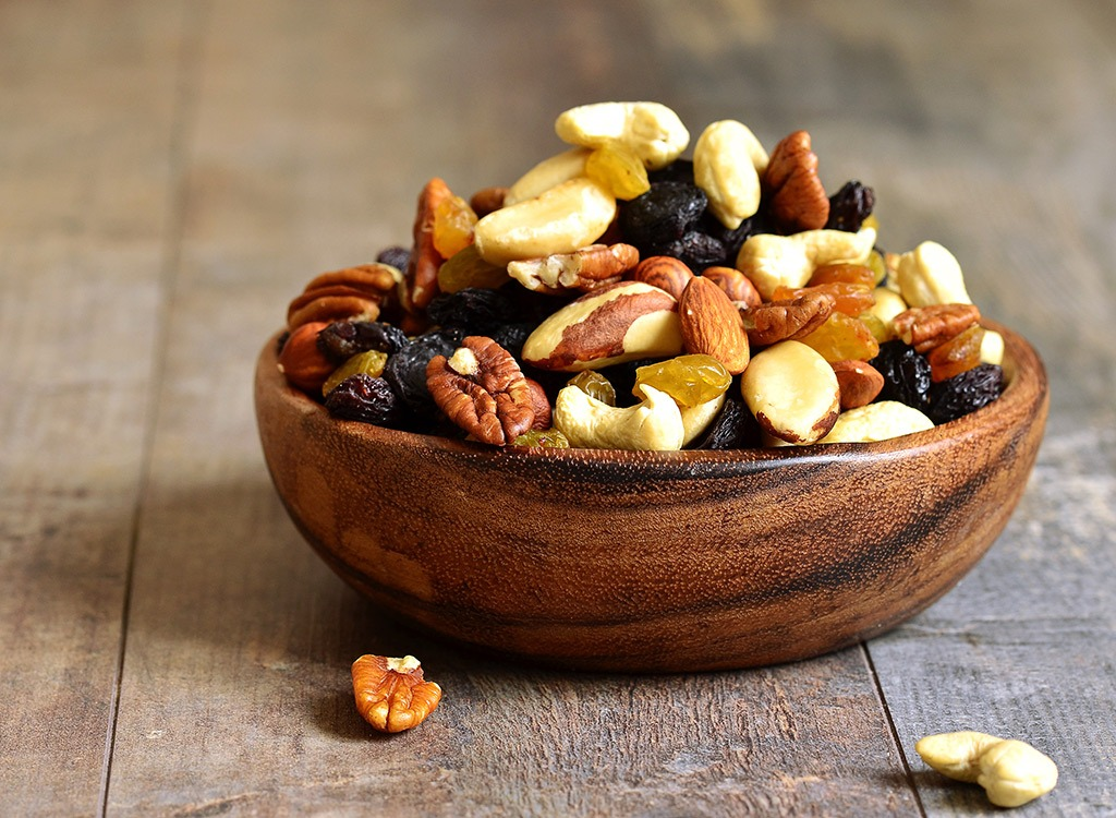 bowl of trail mix mixed nuts