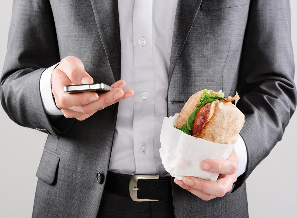 man sandwich lunch