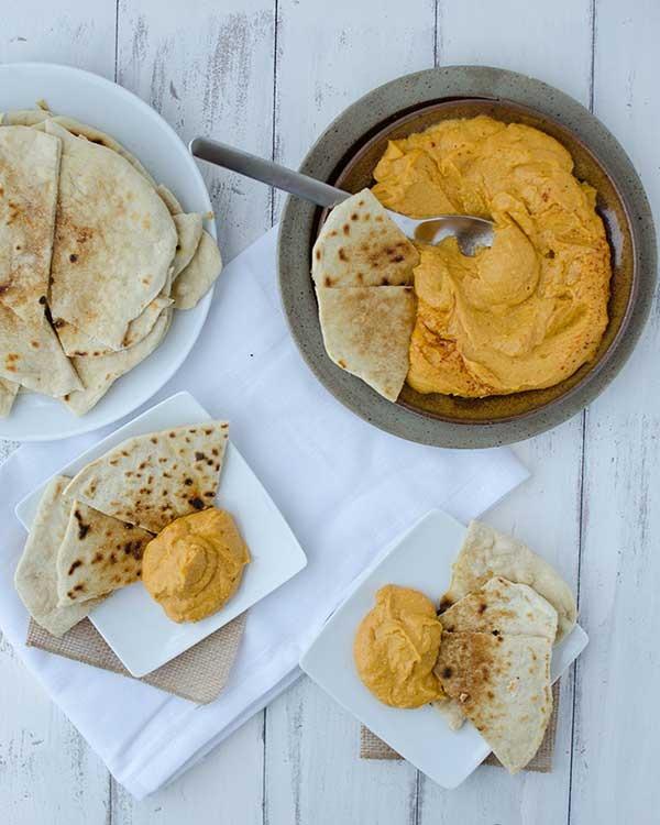 sweet potato hummus with cinnamon flatbread
