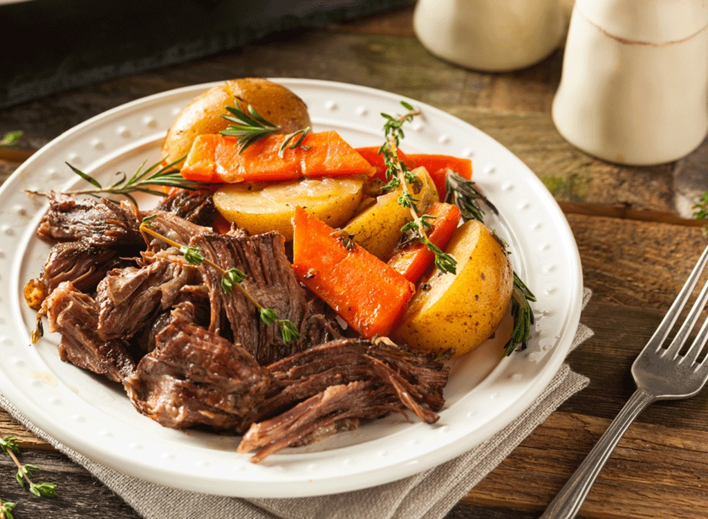plate of pot roast with beef carrots vegetables