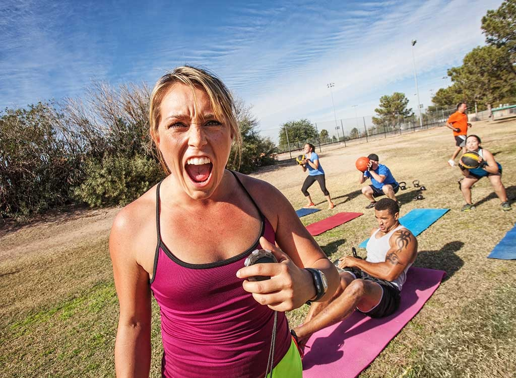 physical trainer yelling outdoor workout