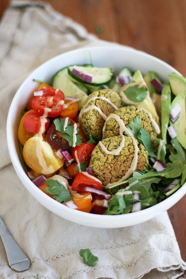 High Protein Vegetarian Meals Baked Falafel Bowls