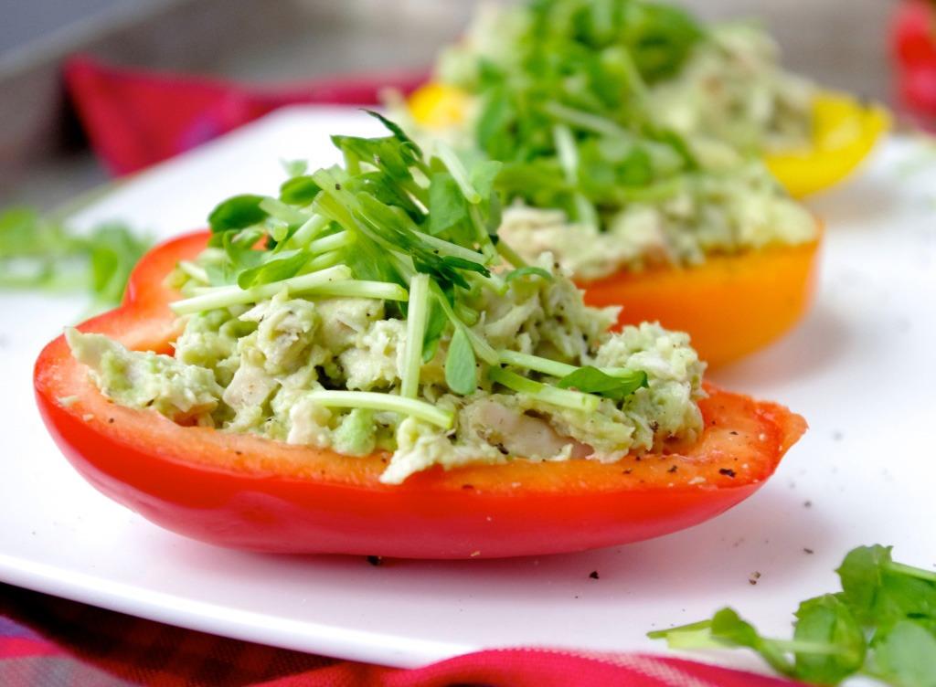 avocado chicken salad on a bell pepper half