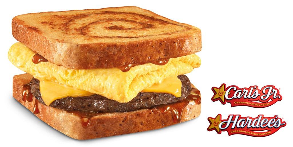 hardees cinnamon swirl french toast breakfast sandwich