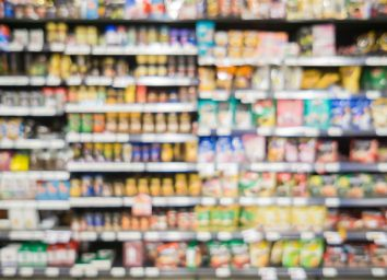 blurred grocery store aisle