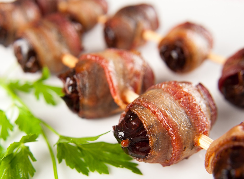 Holiday foods bacon wrapped dates