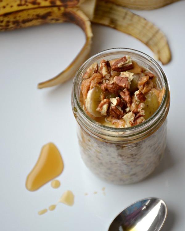 maple banana peanut butter pecan overnight oats