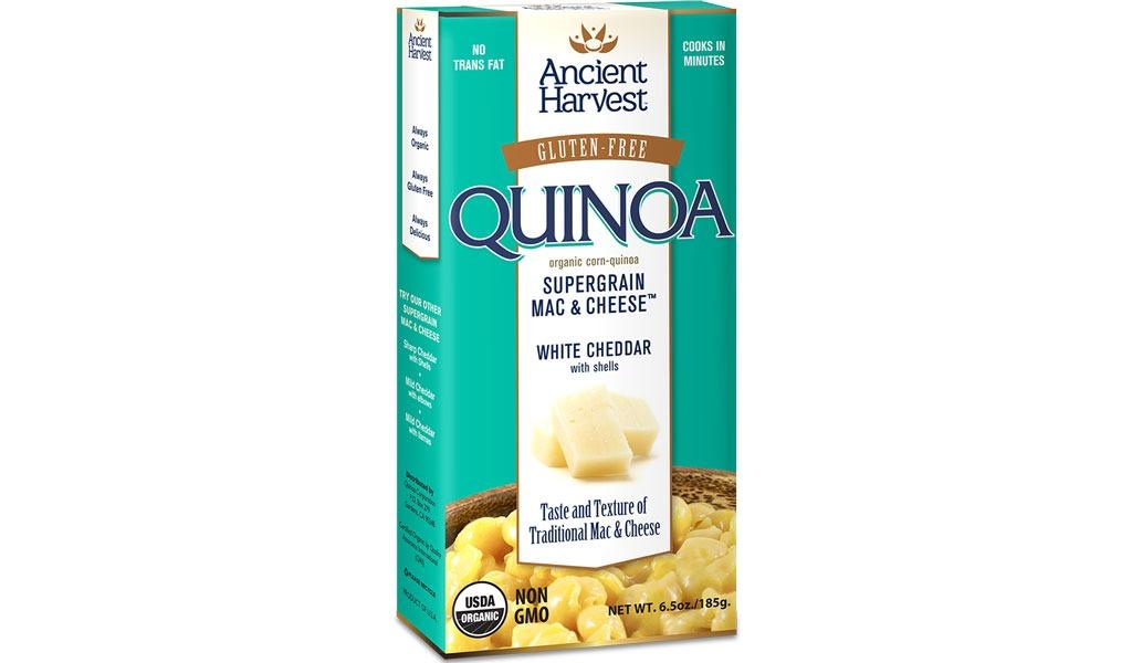 ancient harvest organic gluten-free quinoa-corn white cheddar mac & cheese