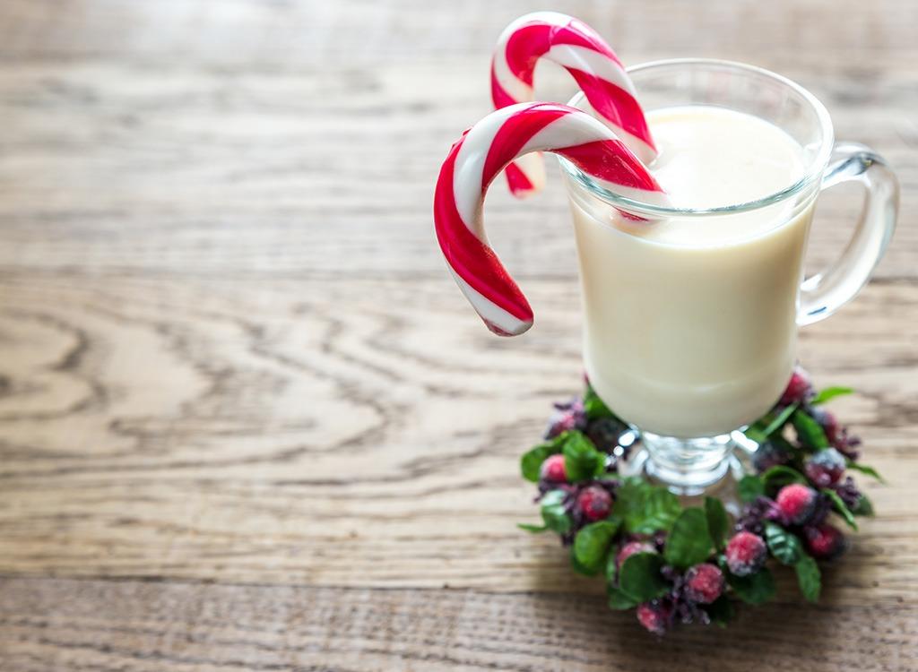 christmas eggnog with candy cane
