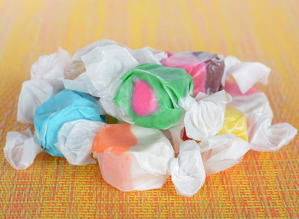 individually wrapped salt water taffy candies