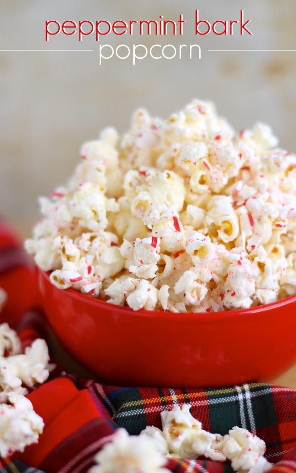 Holiday desserts peppermint bark popcorn