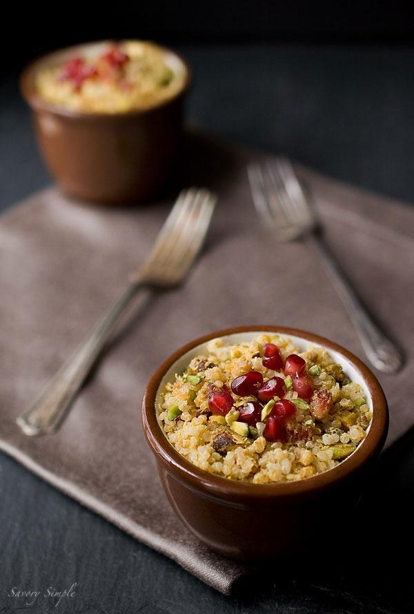 curried pomegranate pistachio quinoa
