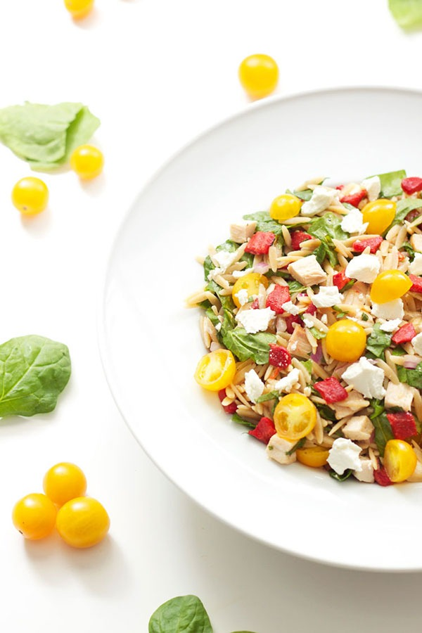 spinach orzo chicken salad