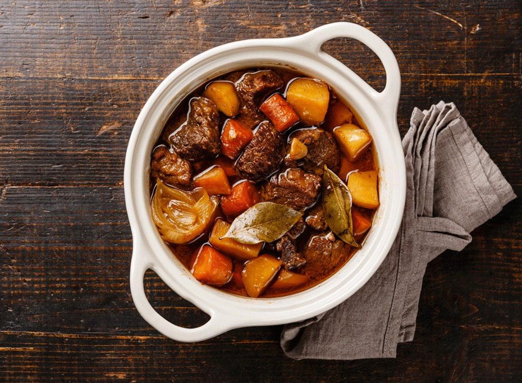 beef stew in white dish