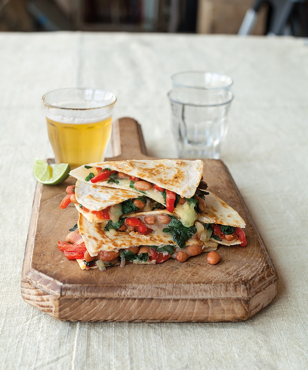 Swiss Chard, Pinto Bean, <br> and White Cheddar Quesadillas