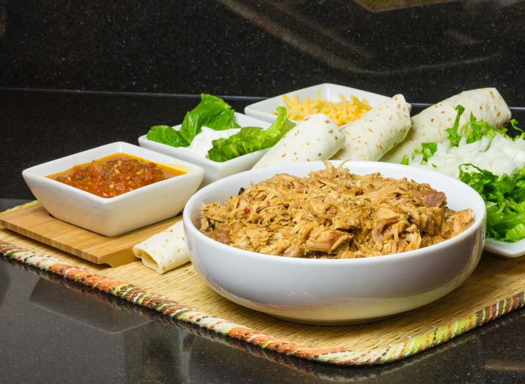 shredded chicken with taco toppings
