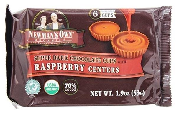 organic super dark chocolate raspberry cups