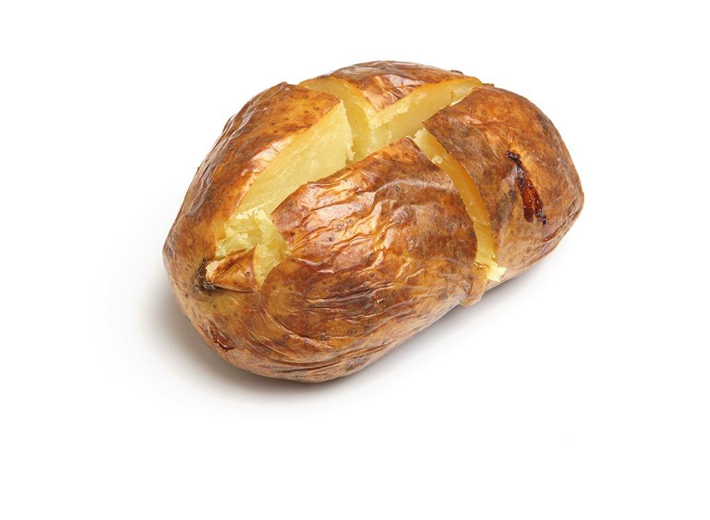 cut open baked potato