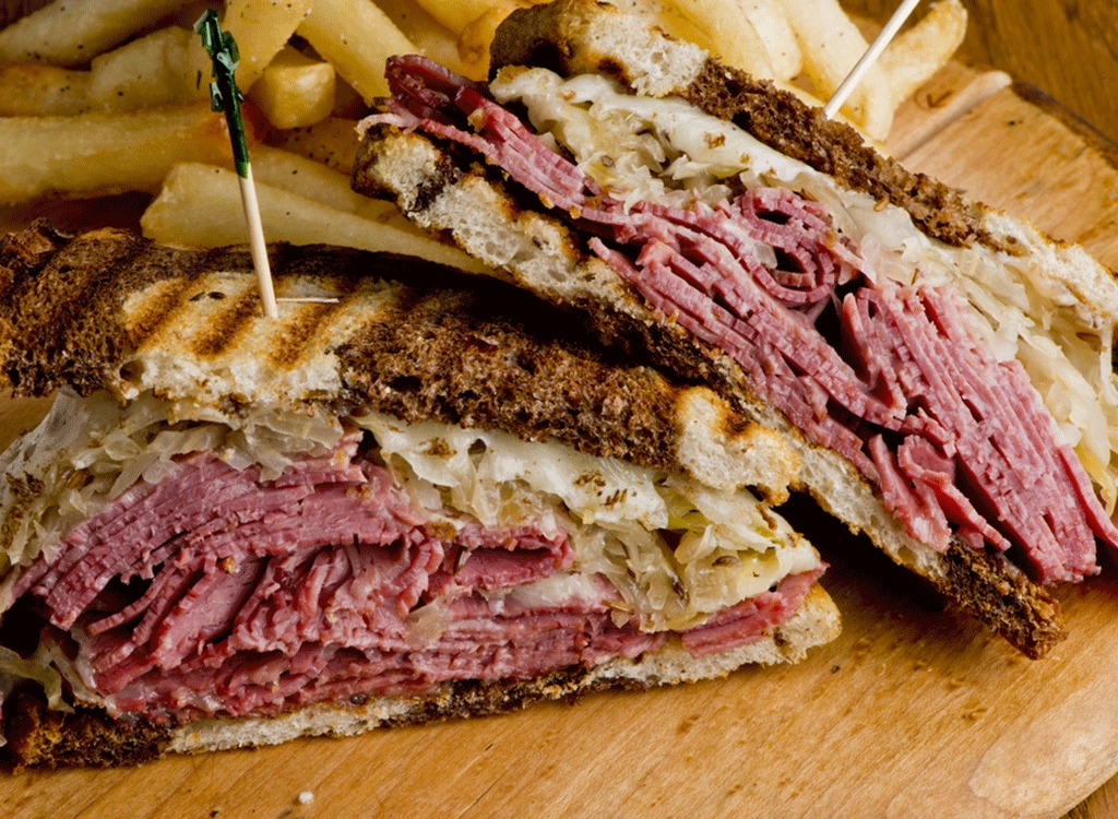 Reuben sandwich with layers of corned beef deli meat