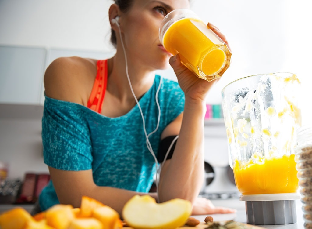 Woman drinking smoothie juice - always hungry reasons