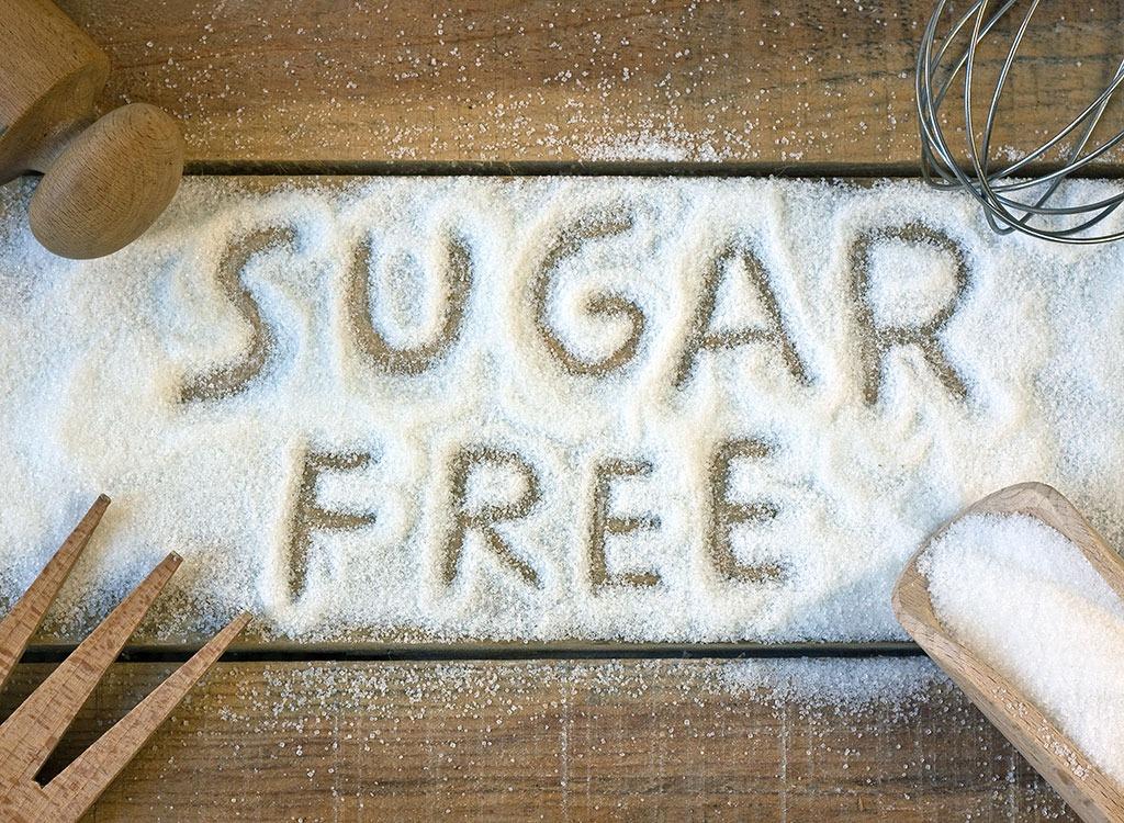sugar free written in sugar