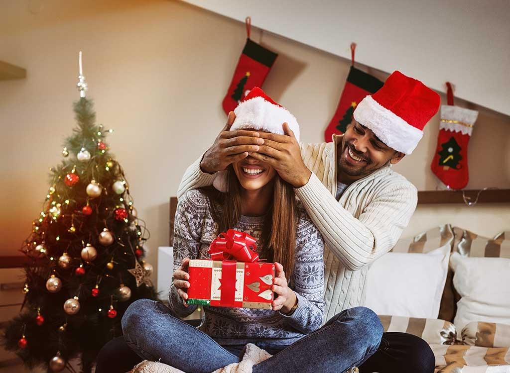 Couple giving gifts on Christmas