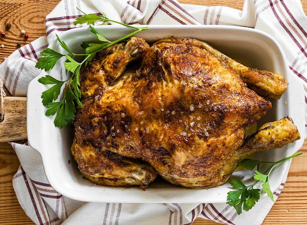 roast chicken in white pan