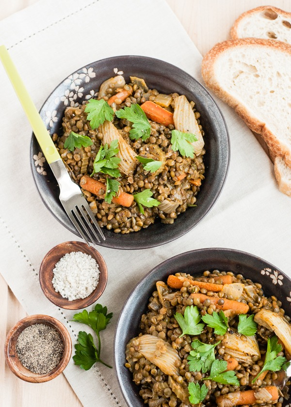 High Protein Vegetarian Meals Braised Lentils and Vegetables