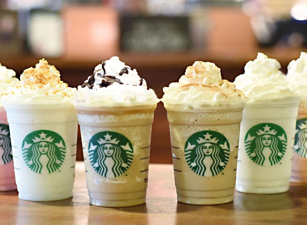 starbucks frappuccino drinks on table