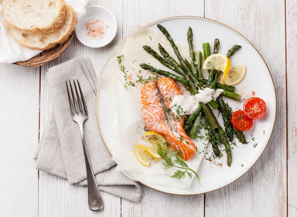 salmon and veggies