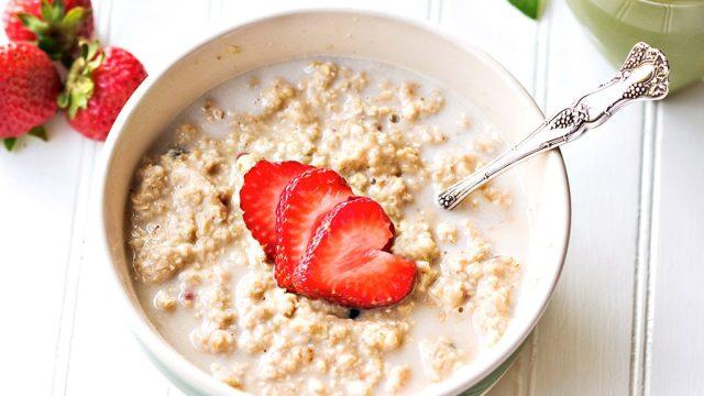 Strawberries in oatmeal bowl