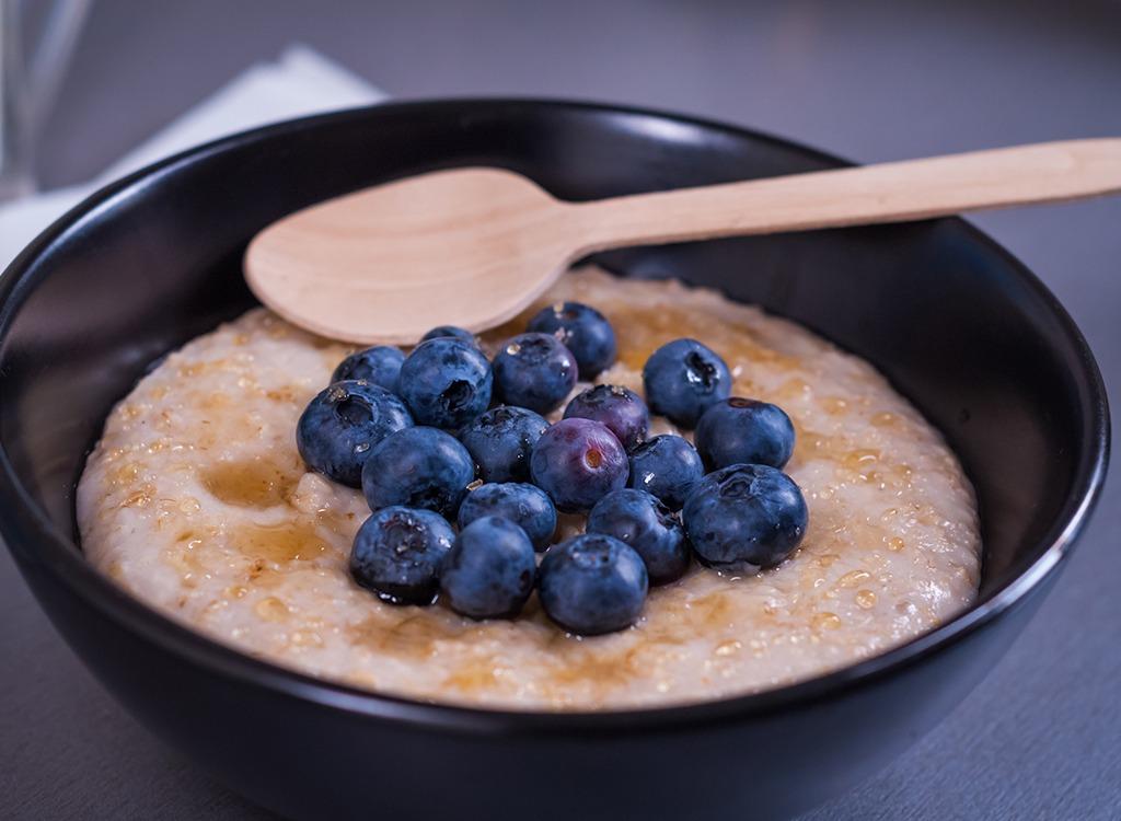 Breakfast porridge with blueberries