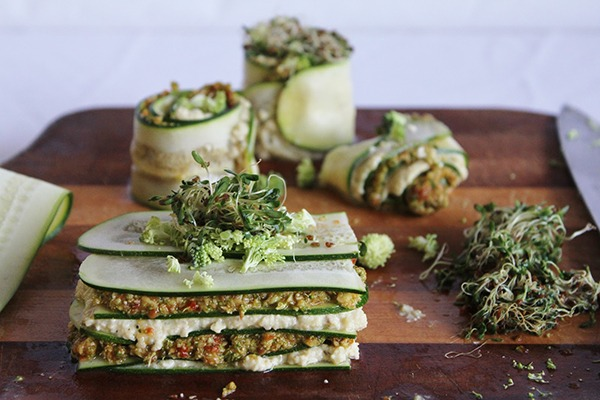 raw lasagna with cashew cheese
