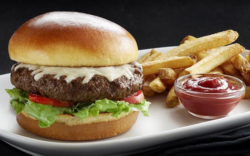 Burger french fries ketchup