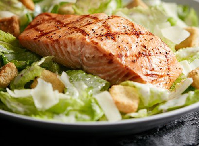 Red Lobster caesar salad with salmon