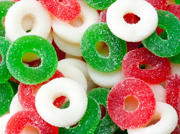 Red white green candy