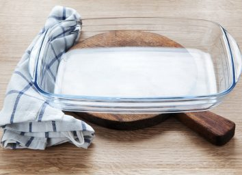 Kitchen towel on casserole dish