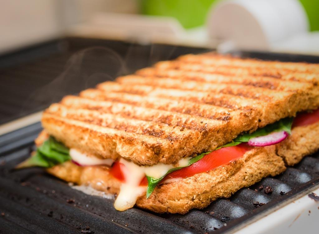 panini sandwich on a grill
