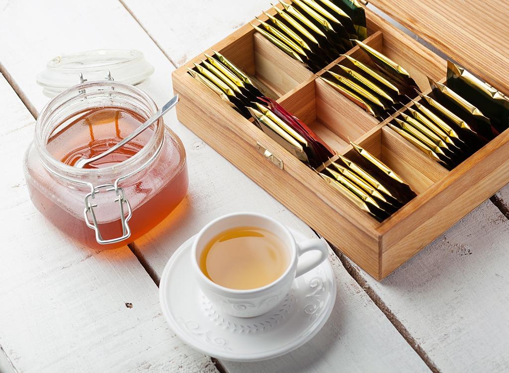 Tea cups and tea bags