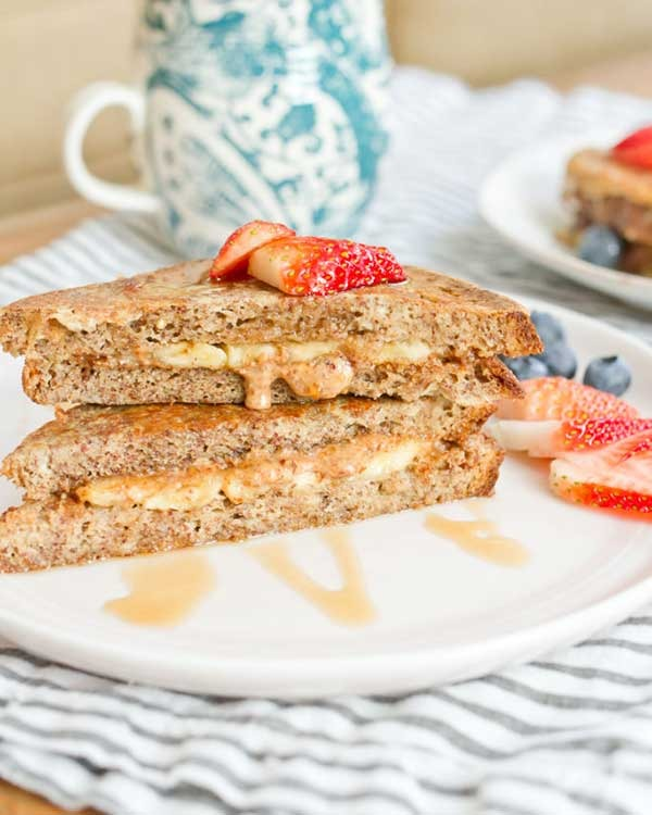 healthy stuffed french toast with almond butter and banana