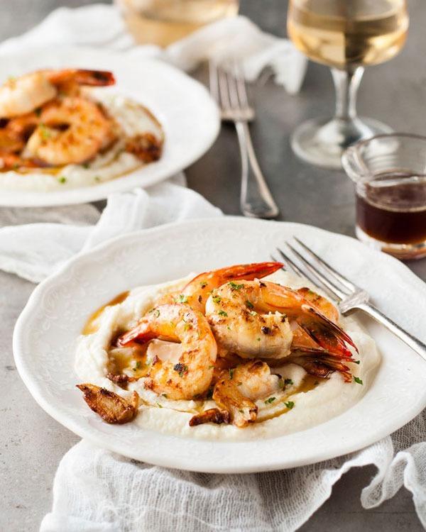 Shrimp recipes Garlic Brown Butter Shrimp with Cauliflower Puree