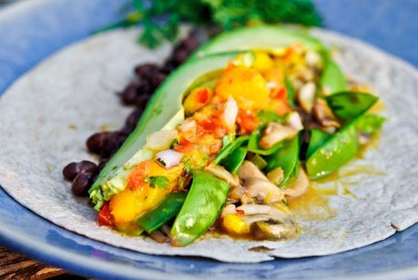 snow pea & mushroom tacos with mango salsa